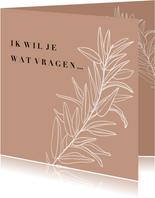 Trendy 'Ik wil je wat vragen' bruidsmeisje botanisch aarde
