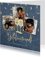 Trendy kaart met confetti, foto's en wijnglazen in goud
