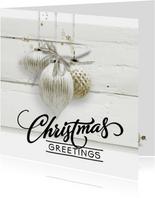Trendy kerstkaart houtprint wit