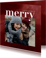 Trendy kerstkaart met foto, waterverf en merry christmas