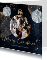 Trendy kerstkaart watercolour goudlook kerstballen blauw