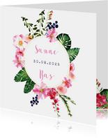 Trendy, kleurrijke trouwkaart met prachtige bloemen