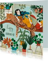 Trendy panter en planten verjaardagskaart