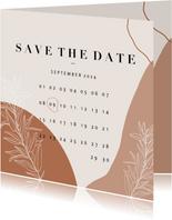 Trendy Save the Date kalender abstracte vormen en plantje