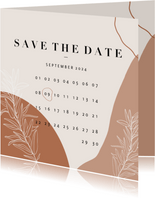 Trendy Save the Date kalender abstracte vormen en plantje
