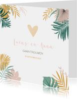 Trendy trouwkaart met tropical bladeren in pastelkleuren