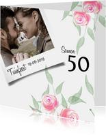 Trendy uitnodiging met roosjes voor een tuinfeest
