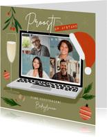 Trendy zakelijke kerstkaart borrel op afstand met laptop