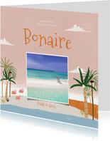 Tropische fotokaart vakantie Bonaire palmbomen en flamingo's