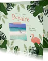 Tropische vakantiekaart Bonaire met jungle kader en flamingo