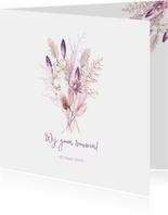 Trouwen droogbloemen paars