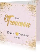 Trouwen feestelijke trouwkaart met sterretjes en hartjes