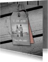 Trouwen houten vloer en label