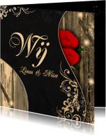 Trouwen rozen en hout d