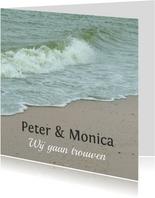 Trouwkaart aan het strand