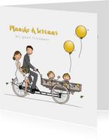 Trouwkaart bakfiets met kinderen geel