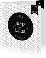 Trouwkaart Black&White stip
