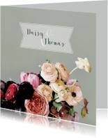 Trouwkaart bloemen aquarelstijl licht