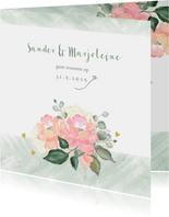 Trouwkaart boeket rozen