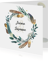 Trouwkaart bohemian romantisch met veren