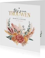 Trouwkaart bohemian stijlvol droogbloemen boeket