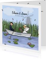 Trouwkaart boot Anet Illustraties