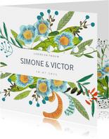 Trouwkaart botanische handgeschilderde bloemen