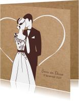 Trouwkaart bruidspaar in romantisch hart