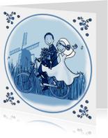 Trouwkaart Delftsblauw fiets 1