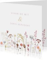 Trouwkaart droogbloemen