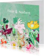 Trouwkaart eigen txt bloemen mix