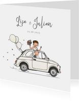 Trouwkaart Fiat 500 wit met bruidspaar