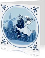 Trouwkaart fiets delftsblauw molen
