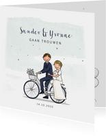 Trouwkaart fiets met bruidspaar hartjes