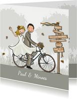 Trouwkaart fiets retro bohemien