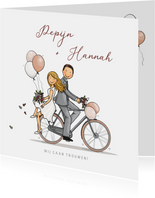 Trouwkaart fiets strak ballon