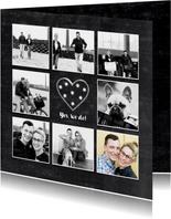 Trouwkaart foto collage schoolbord