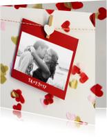 trouwkaart foto confetti hartjes