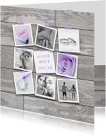 Trouwkaart fotocollage houtlook lila