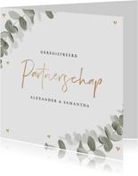 Trouwkaart geregistreerd partnerschap eucalyptus goud hartje