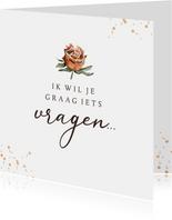 Trouwkaart getuige bruidsmeisje droogbloem goud