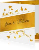 Trouwkaart gouden band en bloemen