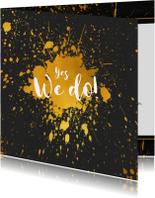 Trouwkaarten - Trouwkaart gouden spetters