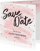 Save the date kaart confetti aquarel