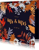 Trouwkaart herfstbladeren