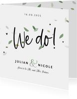 Trouwkaart hip blaadjes eco stijlvol typografisch groen