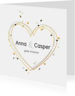 Trouwkaarten - Trouwkaart huwelijk hartjes met confetti