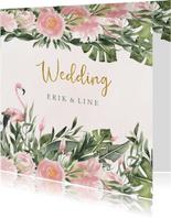 Trouwkaart met flamingo en tropische bloemen en bladeren
