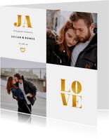 Trouwkaart met foto en gouden accenten vierkant