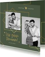 Trouwkaart modern stijlvol goud grafisch hartjes foto's